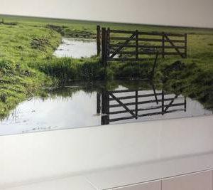 Foto verlijmd achter acrylaat 30x70 cm