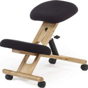 Kniestoel ErgoHealth Zwart - Ergonomische bureaustoel op wielen - Bureaustoel van Beukenhout - Kniestoel voor een betere houding - Ergonomische kniestoel