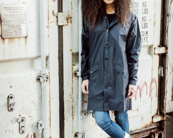 Rains Long Jacket Blauw