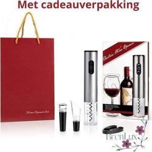 ✿BrenLux - Elektrische kurkentrekker - Makkelijk wijnen - Metaal kleur -LUXE wijnset cadeau - Gift wijnset - Wijnopener - Makkelijke wijnopener - 4 delige wijnopener