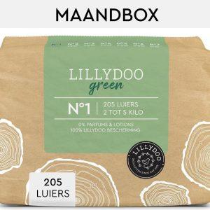 LILLYDOO green luiers - Maat 1 (2-5 kg) - 205 Stuks - Maandbox