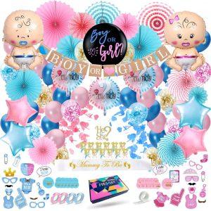 Fissaly® 129 Stuks Gender Reveal Baby Shower Ballonnen Decoratie Feestpakket - Geslachtsbepaling & Babyshower