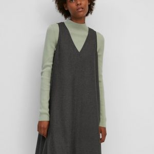 Marc O'Polo Mouwloze jurk met A-lijn deep stone melange