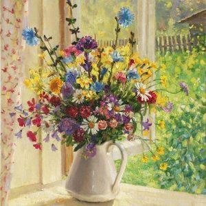 Happy Painter® Diamond Painting bloemen - Lente boeket - 50x70 cm volledig pakket vierkante steentjes